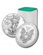 Stříbrné mince v tubách a boxech